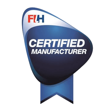 FIH Certified manufacturer logo. A FIH Certified Field is independently tested by an FIH Accredited Test Institute to ensure it meets the requirements of the FIH Quality Programme for Hockey Turf.
